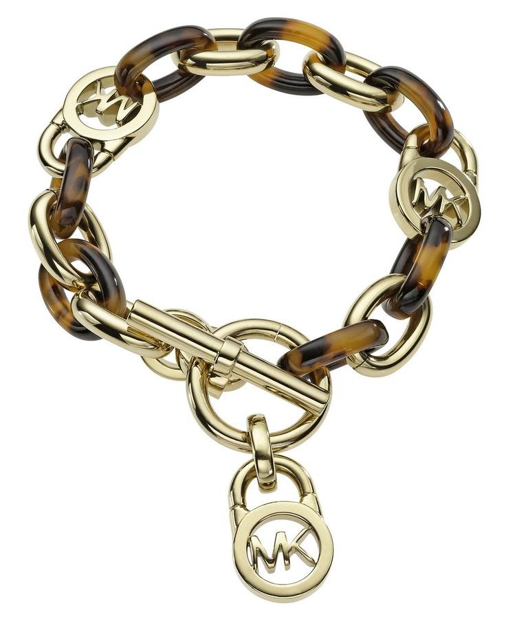 Michael Kors Bracelet, Gold Tone Tortoise Acetate Link Toggle Bracelet - Fashion Jewelry - Jewelry & Watches - Macy's