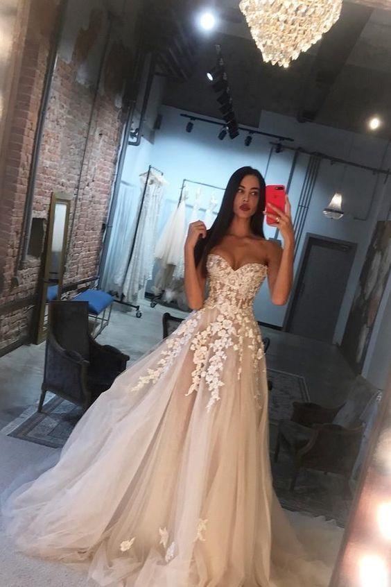 Sweetheart Tulle Applique Blush Pink Wedding Dress, Long Prom Dress