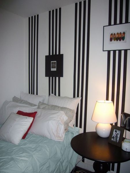 Elegant Girl Room with Black and White Vertical Striped Painted Walls