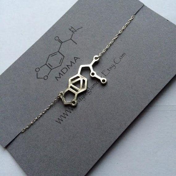 MDMA Necklace MDMA Molecule Necklace Molecule by Instyleglamour