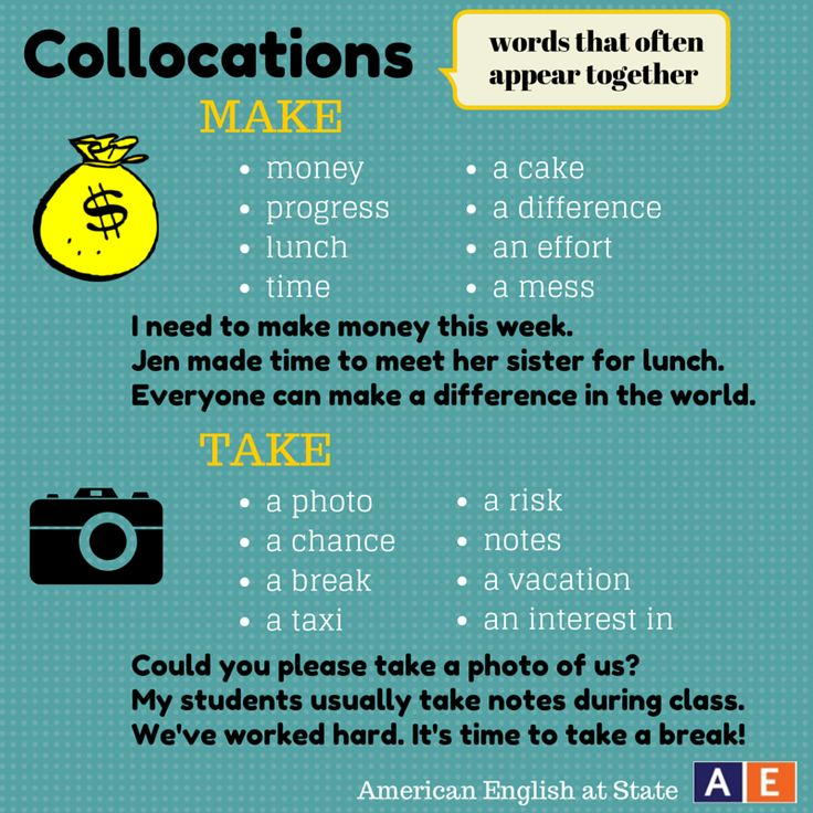 """Make time for this post about collocations! Collocations are words that are often used together, such as """"make time."""" Check out our graphic with collocations using the verbs """"make"""" and """"take."""" What other collocations do you know that use these two verbs? #AmericanEnglish"""