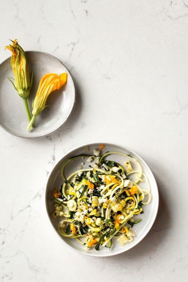 Zucchini Salad with Corn, Squash Blossoms & Feta