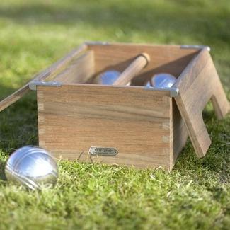 Skagerak Denmark Akiko Teak and Steel Petanque Bocce Game Set