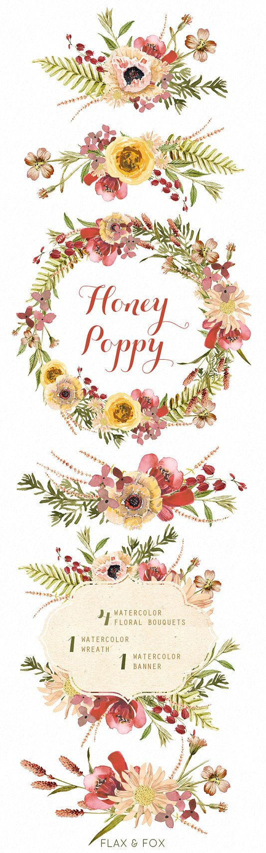 Honey Poppy Watercolor Bouquets Wreath hand painted clipart