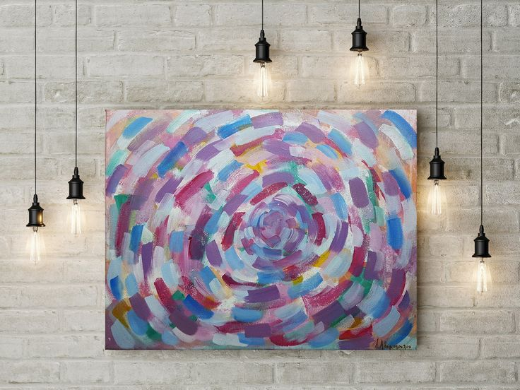 Original Large Acrylic Painting Vertigo Abstract Painting for the Living Room Colorful Painting Pale colors by DeniseArtStudio on Etsy