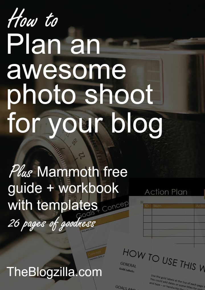 A mammoth guide, workbook and templates to help you plan a photo shoot for your blog photos via http://TheBlogzilla.com