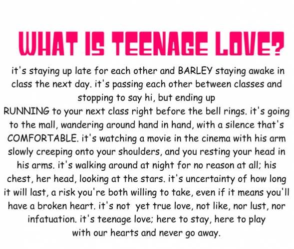 teenage relationship This article talks about all the different phases you go through in the relationship game.