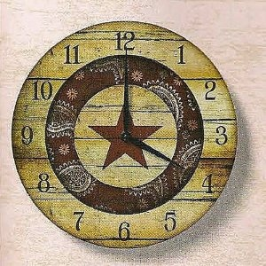 Rodeo Cowboy Western Barn Star Wall Clock Home Decor