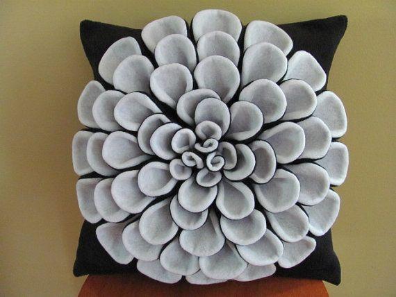 Decorative Pillow Pattern DANIELLA DAHLIA Felt by SewYouCanToo, $5.00