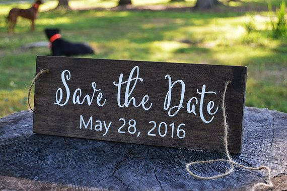 Dog Save the Date Engagement Photo Prop - Rustic Wedding Pet Photo Sign - Dog Engagement Photos