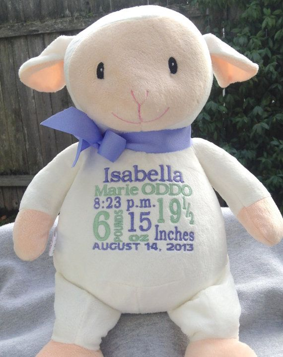 23 best urbini products images on pinterest babies attic and personalized baby gift monogrammed baby lamb with babys name and dob by worldclassembroidery negle Images
