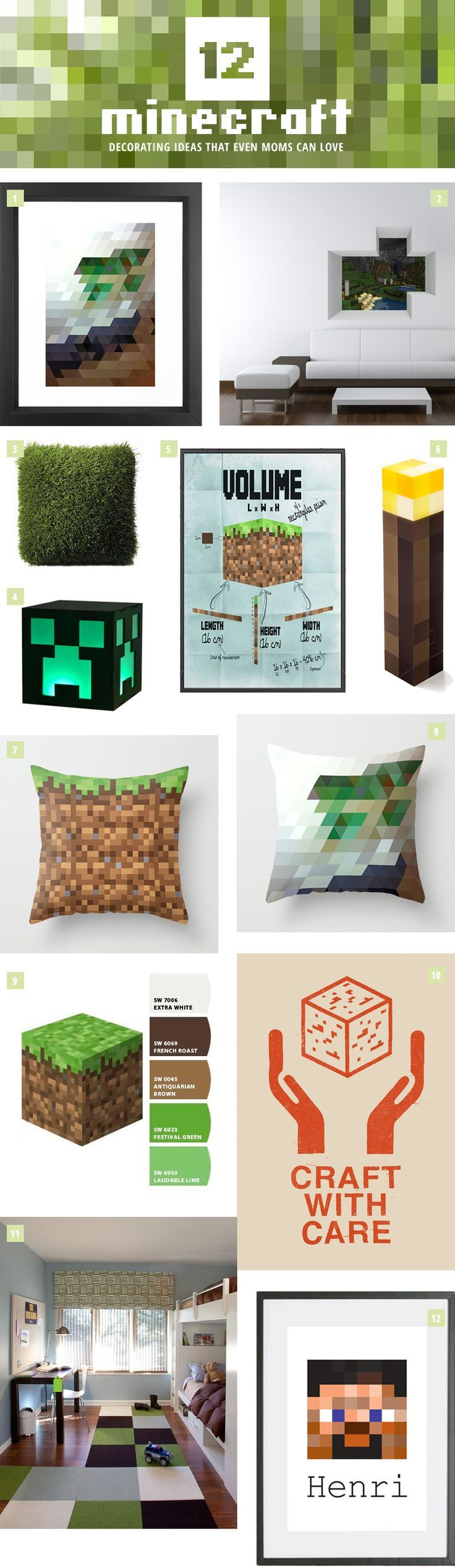 12 Minecraft Decorating Ideas that Even Moms Can Love. Get design, product and resource ideas for creating a Minecraft-themed look in your little gamer's room.