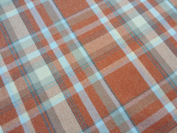 Orange Elgin checks Wool Effect heavy weight Thick Tartan Plaid MacDougall heavy Upholstery Curtains, chair victorian Fabric  - by the metre