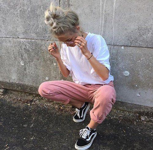 Image de girl, pink, vans, casual outfit