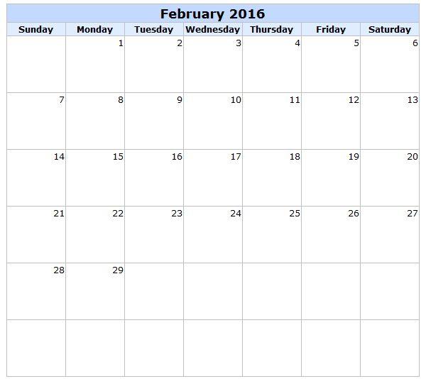 February 2016 Calendar Uk