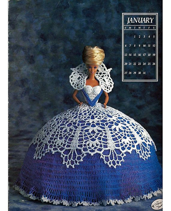 Miss January 1991 Annies Calendar Bed Doll Society Fashion Doll Crochet Pattern Annies Attic 7401.