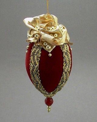 Towers Turrets Handmade Vintage Style Red Velvet Beaded Egg Christmas Ornament | eBay