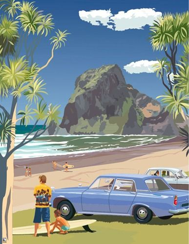 """Check out Retro Poster """"Piha 1969"""" at New Zealand Fine Prints"""