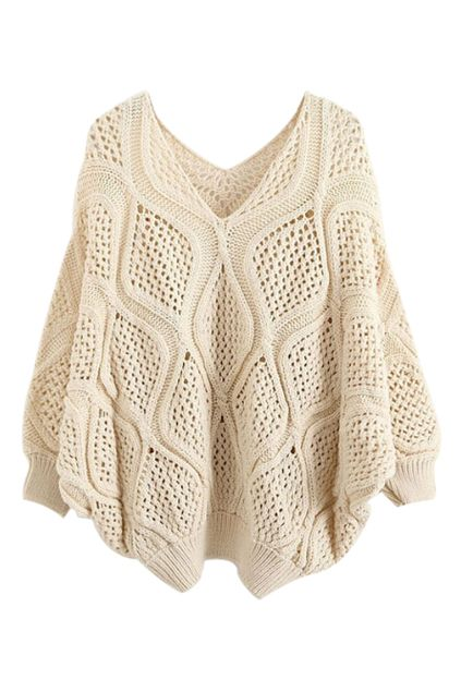 Love! Love! Love! Want! Want! Want! Cozy Loose Knit Beige Hollow Batwing Sleeves Sweater, The Latest Street Fashion #Cozy #Loose #Knit #Sweater #Fashion