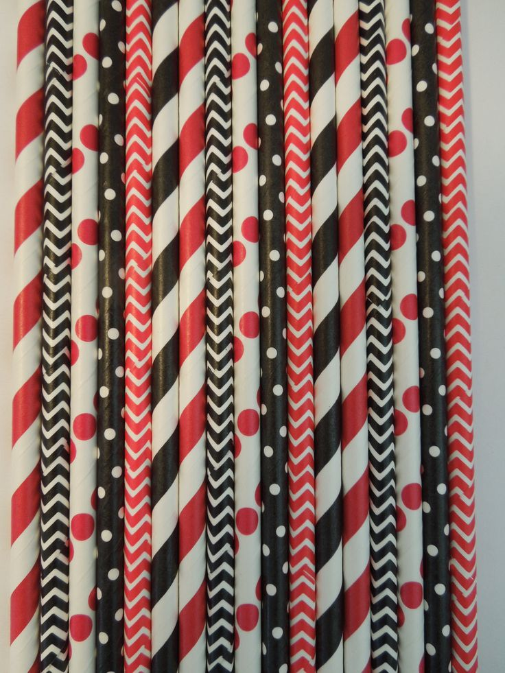 50 Paper Straws Red + Black Striped Straws, Black Red Chevron Straws, Mason Jar Straws, Mickey Mouse Birthday Party Ideas, Rustic Wedding Ideas, Straws Kids Birthday Bridal Baby Shower $5.99