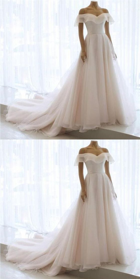 Elegant Off Shoulder Sleeveless Chiffon Wedding Dresses Long Bridal Gown