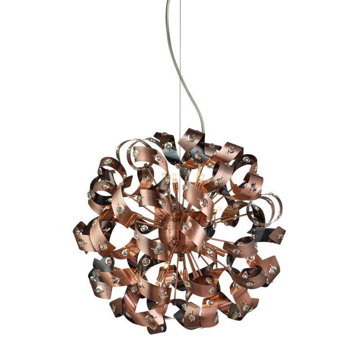 Searchlight 9812 12CU Curls 12 Light Ceiling Pendant Antique Copper