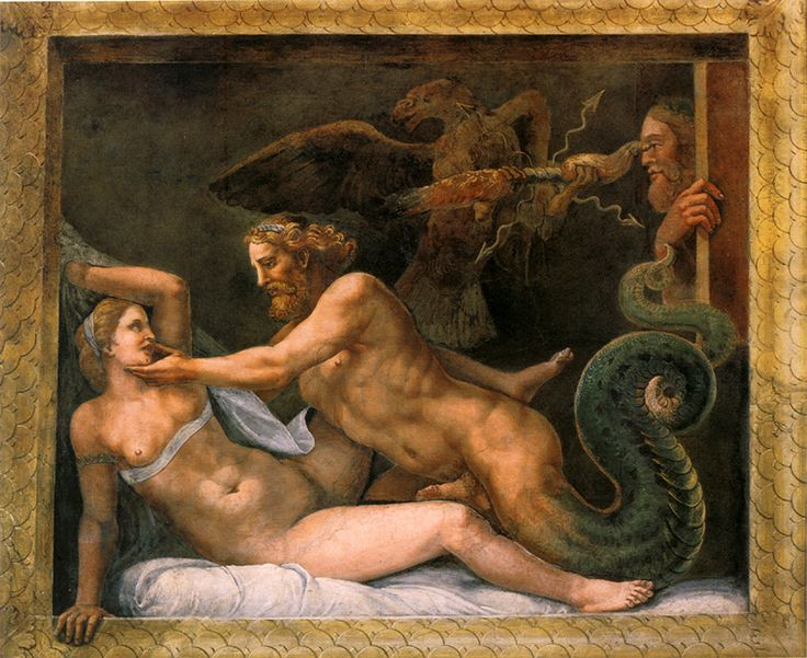 According to the myth, Alexander the Great was conceived through the sexual intercourse of Olympias and Zeus, as shown in this painting by Giulio Romano.