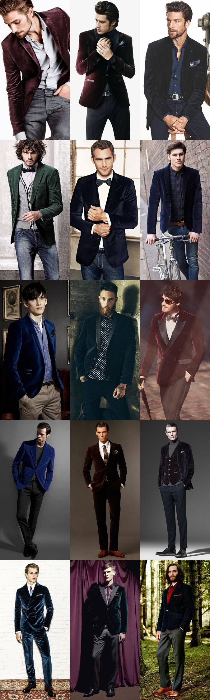 Men's Velvet Outfit Inspiration Lookbook. When your boyfriend has the jawline of a model, you kinda can't help but wanna dress him like one :)