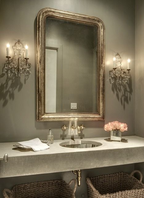 Guest bath mirror:  add silver/platinum rub