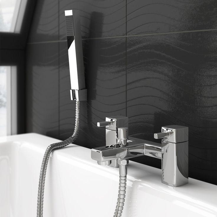 Neo Minimalist Bath Shower Mixer with Shower Kit - Chrome profile large image view 2