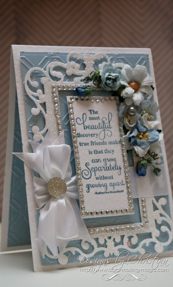 Hi Everybody, Todays card is in a pretty shade of blue teamed with white and the die used is...