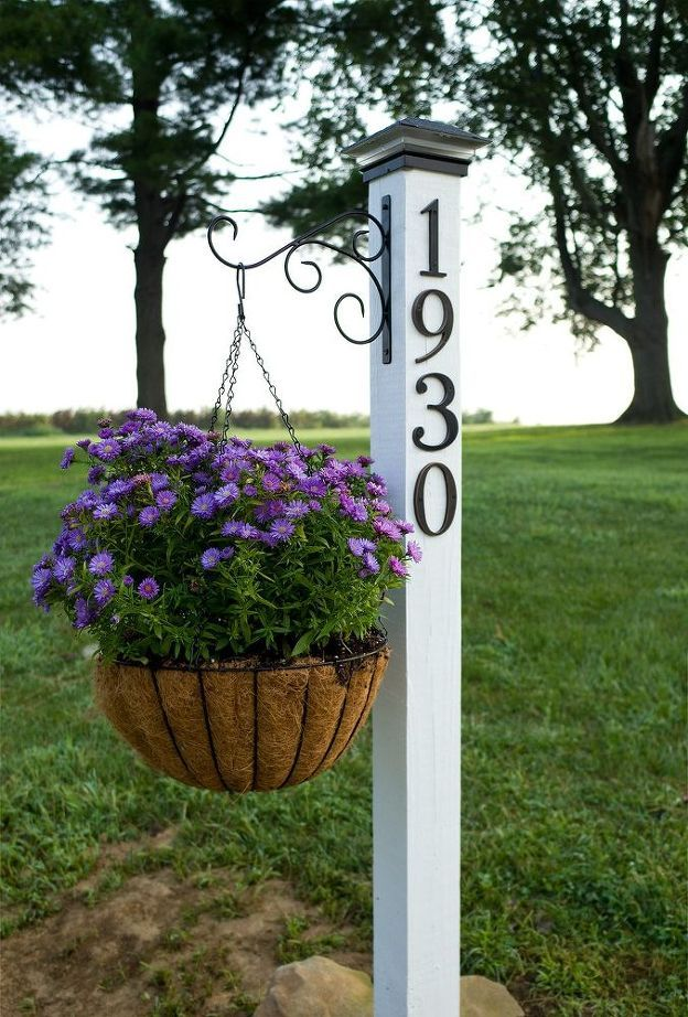DIY address post planter.