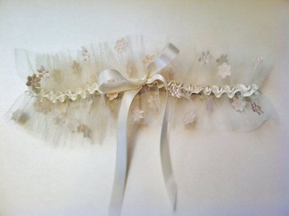 Daisy Tulle Wedding Garter with Bow by AnnaMarguerite on Etsy, $75.00