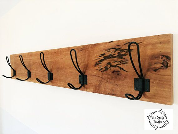 Australian Timber Wall Mounted Coat Rack Hooks Racks Clothing Clothes Hook Bedroom Key Hanger Wooden Hooks Unique Coat Rack Recycled Timber Wall Mounted Coat Rack Timber Walls Recycle Timber
