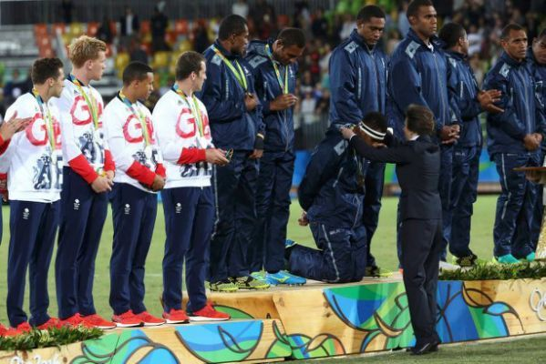 Congratulations to the Fijian Rugby Sevens team in winning the country's first Olympic medal, Gold! ...and for being giants of men in showing humility before HRH The Princess Royal and the world.
