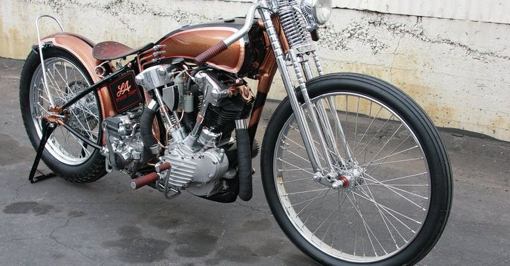 Red Gold  1947 Harley-Davidson FL Hot Bike