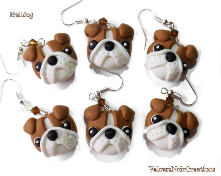 orecchini bulldog inglese creati a mano in fimo