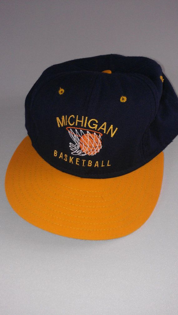#Michigan Wolverines Basketball Snapback Hat #90s http://etsy.me/1B27enq #bigten #gobigblue #fabfive #vintagebasketball