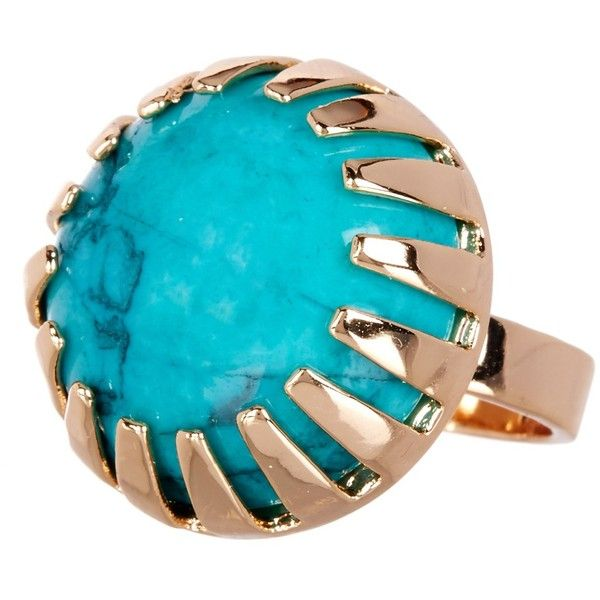 METAL AND STONE Round Dark Green Turquoise Stone Ring - Size 6 ($20) ❤ liked on Polyvore featuring jewelry, rings, no color, cabochon emerald ring, emerald stone rings, stone ring, metal rings and green stone jewelry