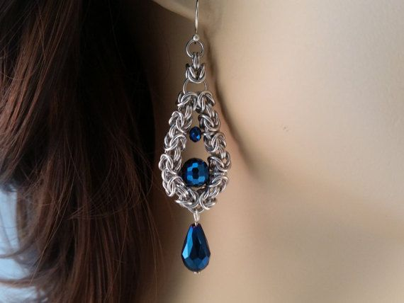 Tear Drop Byzantine Earrings with Metallic Blue Crystals, Chainmail earrings, Chain mail earrings, chain maille earrings