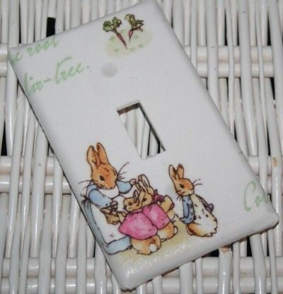 Switchplate made w Pottery Barn Kids Peter Rabbit Nursery