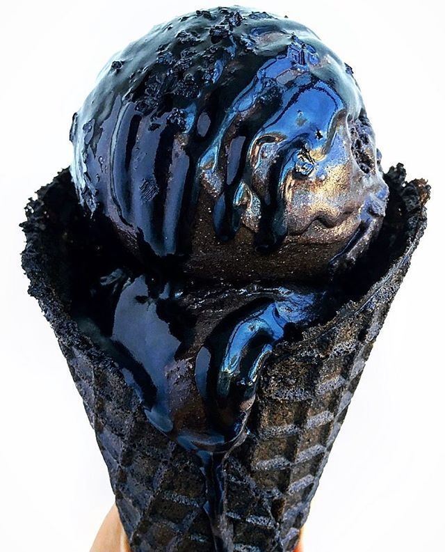 Black ice cream (darkest cocoa), black waffle cone, black caramel, and black sea salt
