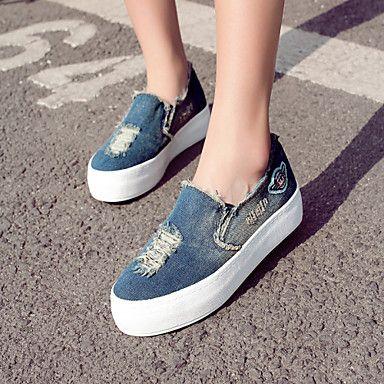 Women's Shoes Denim Flat Heel Platform/Creepers/Round Toe Loafers Outdoor/Casual Dark Blue/Light Blue – USD $ 37.99