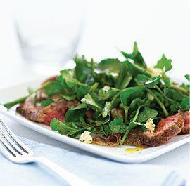 Watercress Salad with Steak, Sautéed Shallots & Stilton