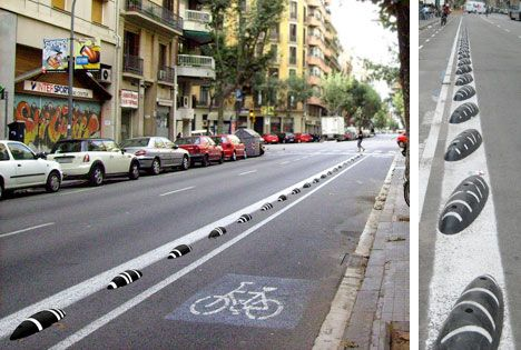 Spanish designer Curro Claret designed the ZEBRA bicycle lane divider, made from recycled plastic.The ZEBRA, is a black oval plastic piece that is fixed to the floor on the line between the road and the bicycle path to avoid motorbikes and cars from entering.