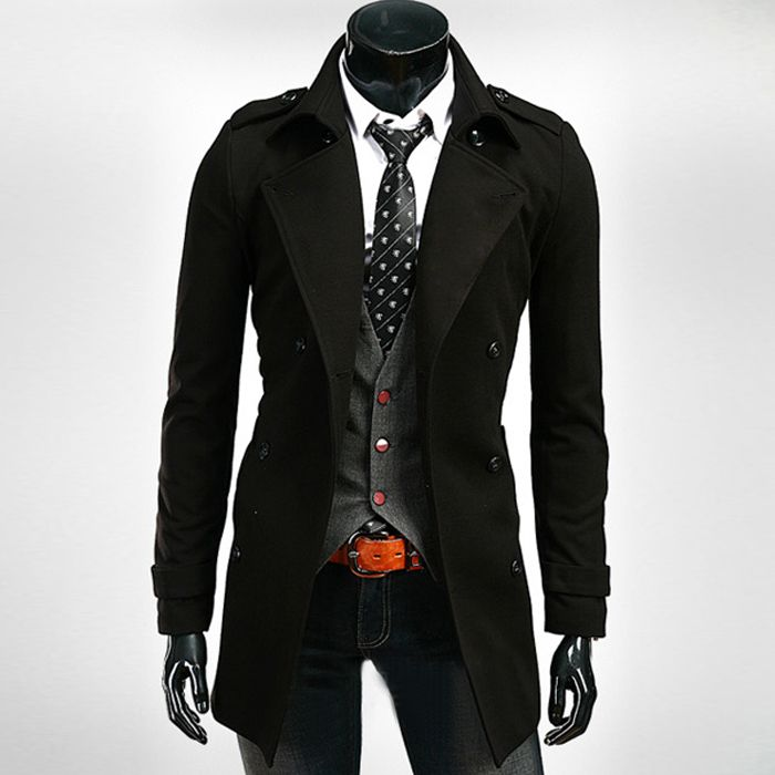 2015 Mens Coats Red Black Long Trench Coat Men With Belt Winter Overcoat Men Wool Frock Coat Male Casaco Masculino XXL # A4507