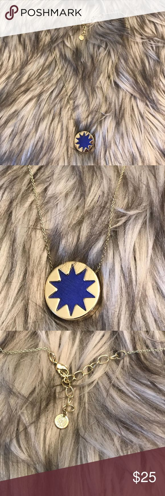 """House of Harlow Small Pendant Necklace Gold Blue Worn only a few times. Total Chain length ~18"""" Pendant width 3/4"""" - no box House of Harlow 1960 Jewelry Necklaces"""