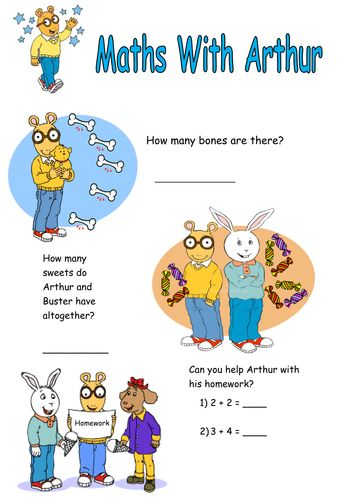 Arthur the Aardvark counting and adding worksheet.