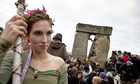 Summer Solstice celebrations at Stonehenge.  Photograph: Warren Allott/AFP/Getty Images