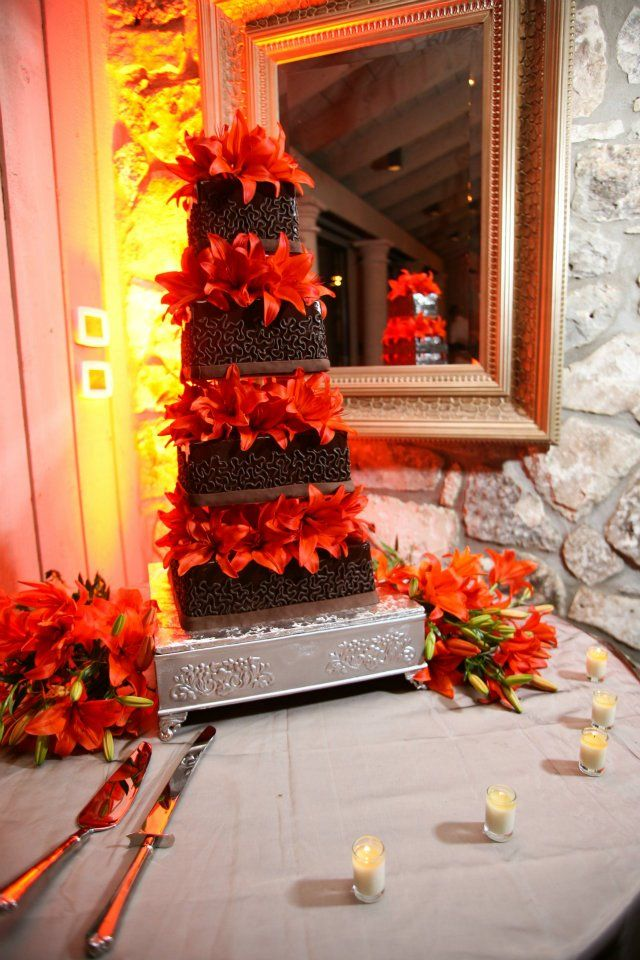 Chocolate wedding cake, square tiers, floating tiers, chocolate ganache, orange lillies, Horseshoe Bay Resort, large square wedding cake, poured chocolate wedding cake, chocolate icing, chocolate cake, tall wedding cake
